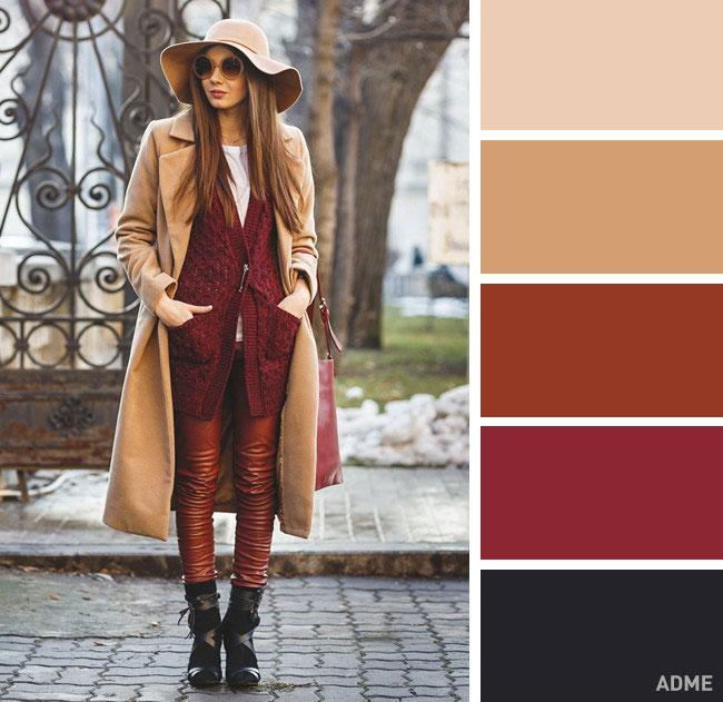 Цветовые сочетания в одежде на осень красный и беж