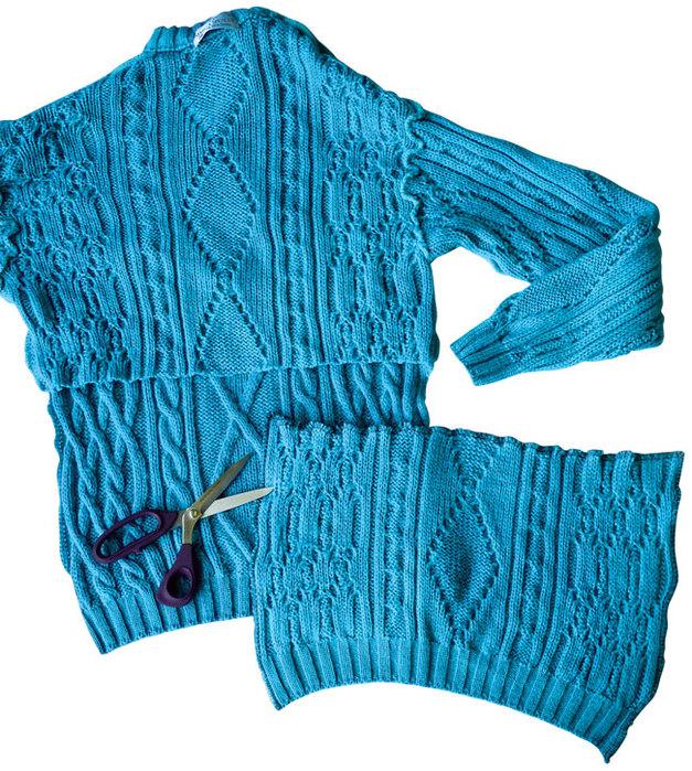 Шапка, варежки и снуд из пуловера своими руками!