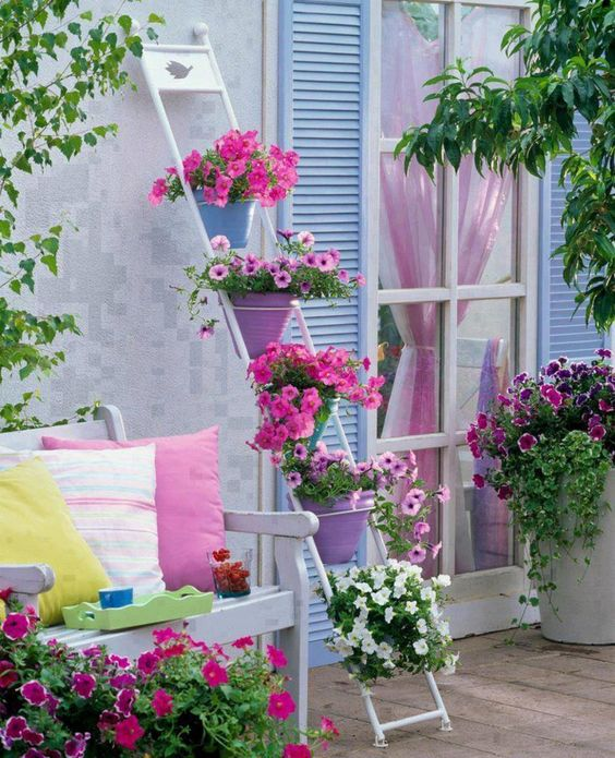 Such a great idea for a porch, patio, or balcony: