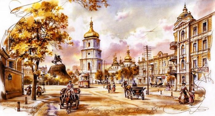 городской пейзаж акварель Сергей Брандт-10