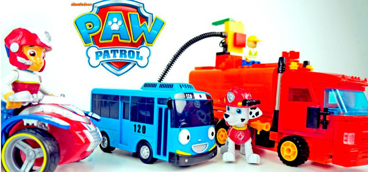 Щенячий Патруль и автобус Тайо. Автозаправщик спешит на помощь. Мультик с игрушками.