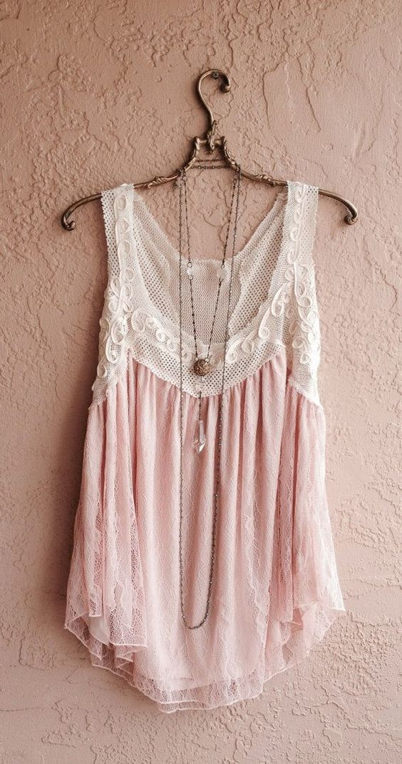 Romantic bohemian gypsy tunic with nude blush lace: