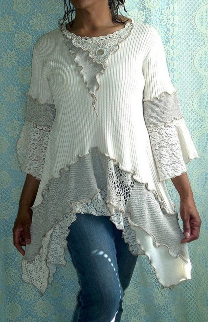 Cream, Beige Ribbed Tunic ~t~: