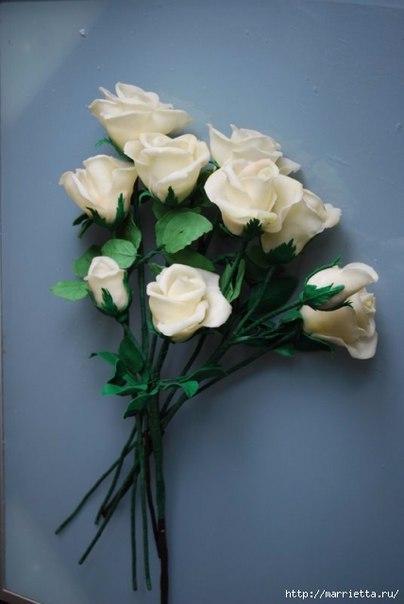 Розы из холодного фарфора. мастер-класс