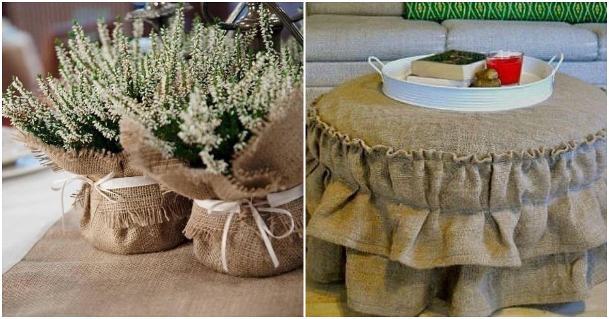 Оригинальные фото идеи декора из мешковины