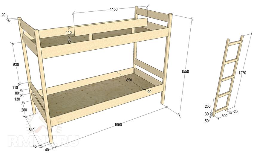 Схема двухъярусной детской кровати своими руками
