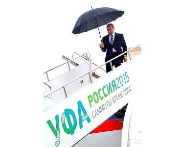 Владимир Путин прибыл в Уфу для участия в саммитах БРИКС и ШОС