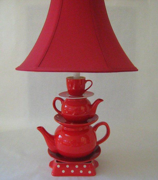 Очаровательная лампа из старой посуды. МК