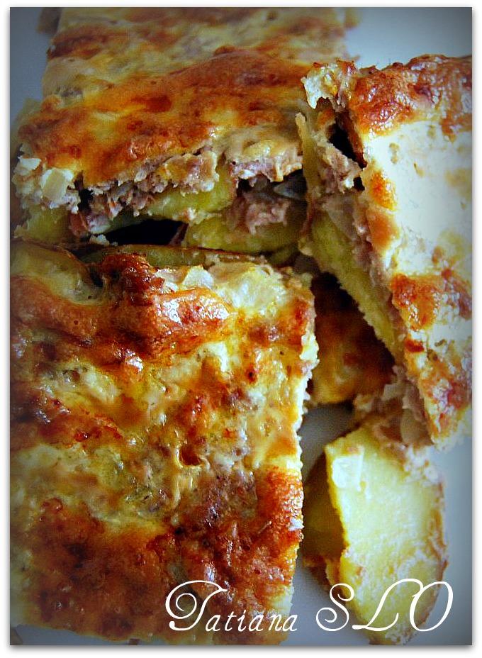 Запеченный картофель под мясной шубкой. Фото-рецепт.