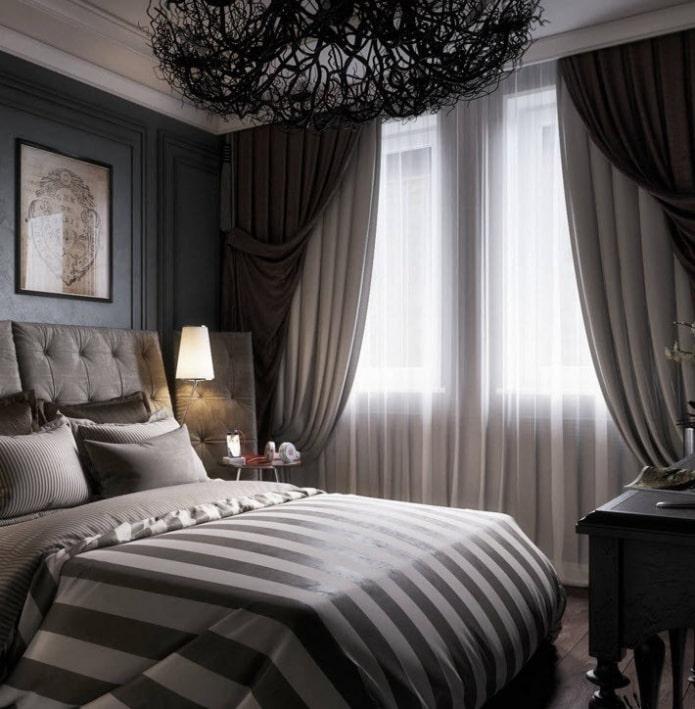 двойные портьеры в интерьере спальни