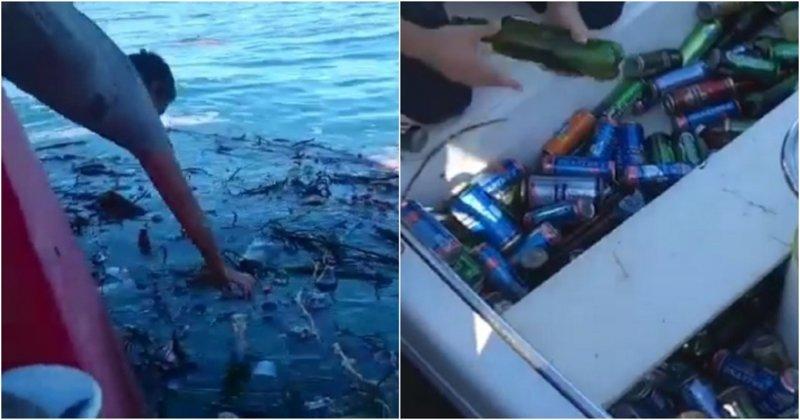 Из Сочи с любовью: смытые потопом бутылки с пивом и газировкой приплыли к жителям Геленджика ynews, видео, газировка, геленджик, море, пиво, сочи, улов, черное море
