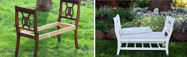 Стильная банкетка из стульев