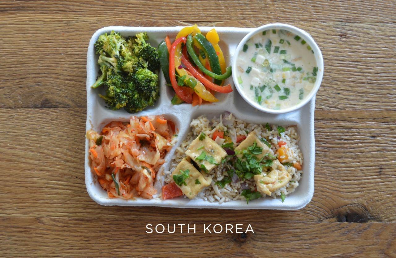 Южная Корея ланч, обед, рацион, школа, школьный обед