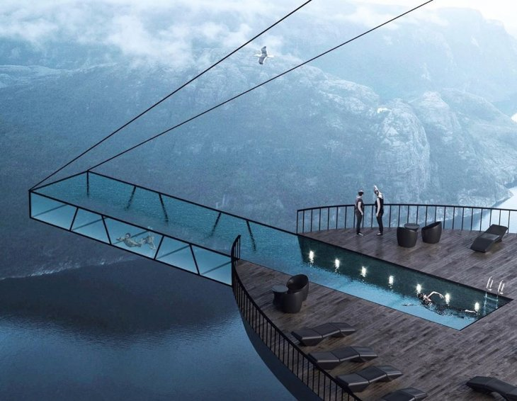 Проект стеклянного бассейна над фьордом в Норвегии креатив,необычное,фотография