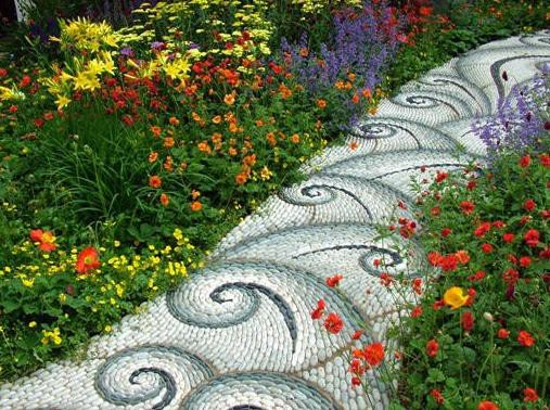Мозаика «волны» дача, дорожки, сад