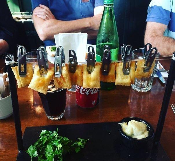 5. Равиоли на прищепках блюдо, еда, идея, оригинальность, подача, ресторан, сервировка, странность
