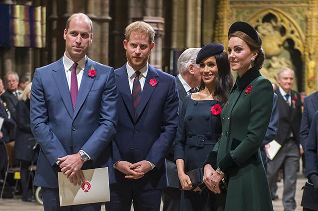 Кейт Миддлтон, Меган Маркл и принцы Уильям и Гарри на службе в Вестминстерском аббатстве