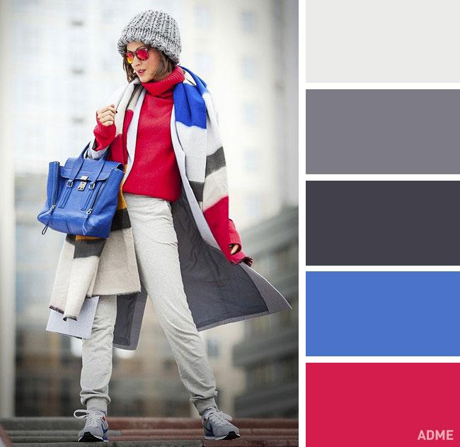 Цветовые сочетания в одежде на осень синий и красный