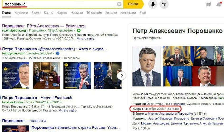 «Яндекс» объяснил появление «даты смерти» Петра Порошенко