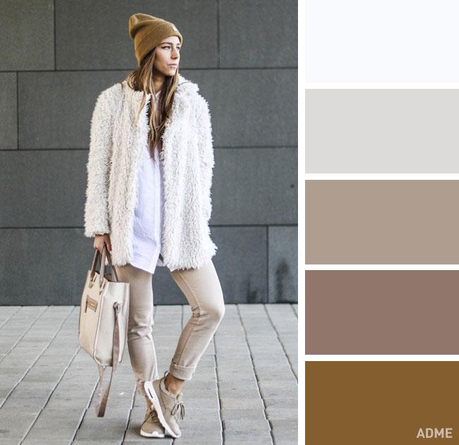 Цветовые сочетания в одежде на осень в одном тоне