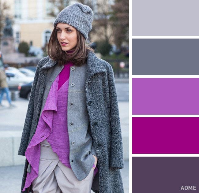 Цветовые сочетания в одежде на осень серый и лиловый