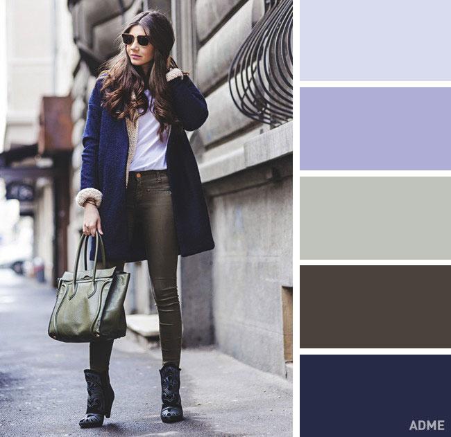 Цветовые сочетания в одежде на осень синий и серый