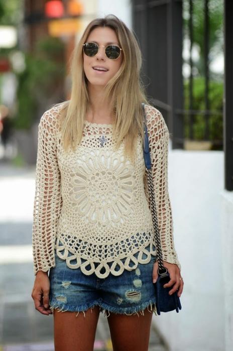 Идеи для вязания крючком - туники, платье со схемами