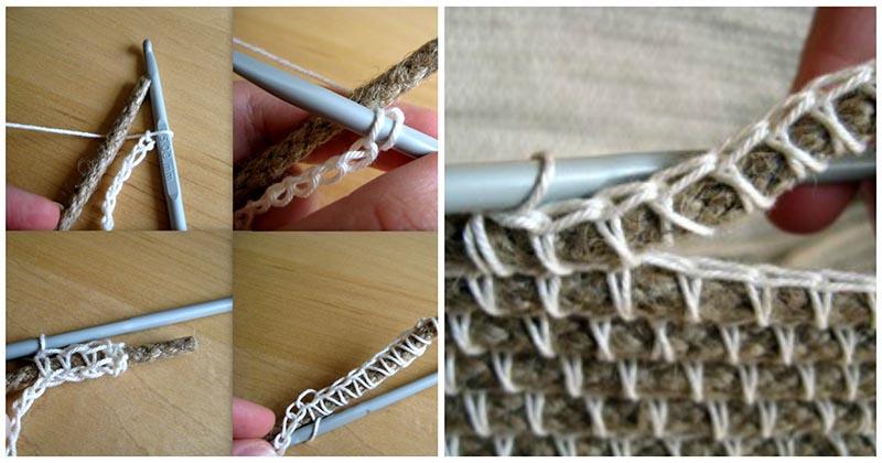 С помощью верёвки и пряжи вы можете связать крючком потрясающую вещицу