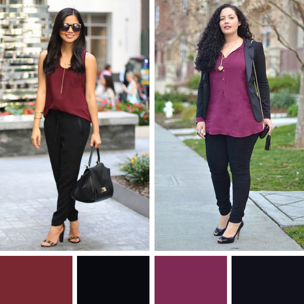 Сочетание бордового и черного цвета в одежде