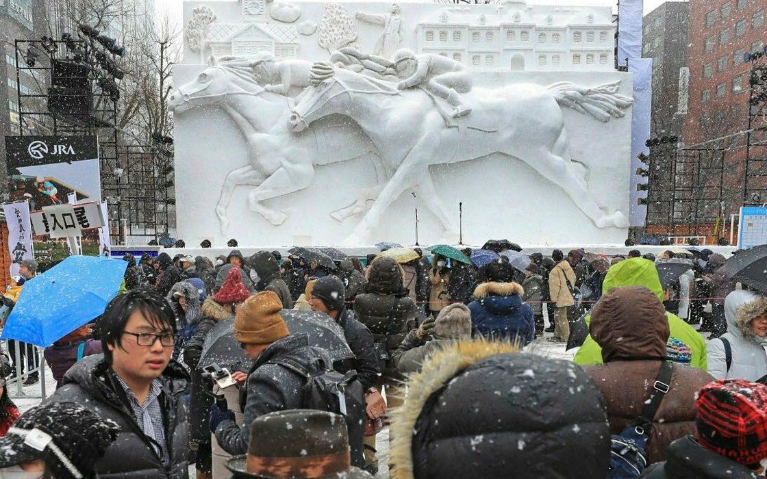 Фестиваль скульптур из снега и льда в Японии