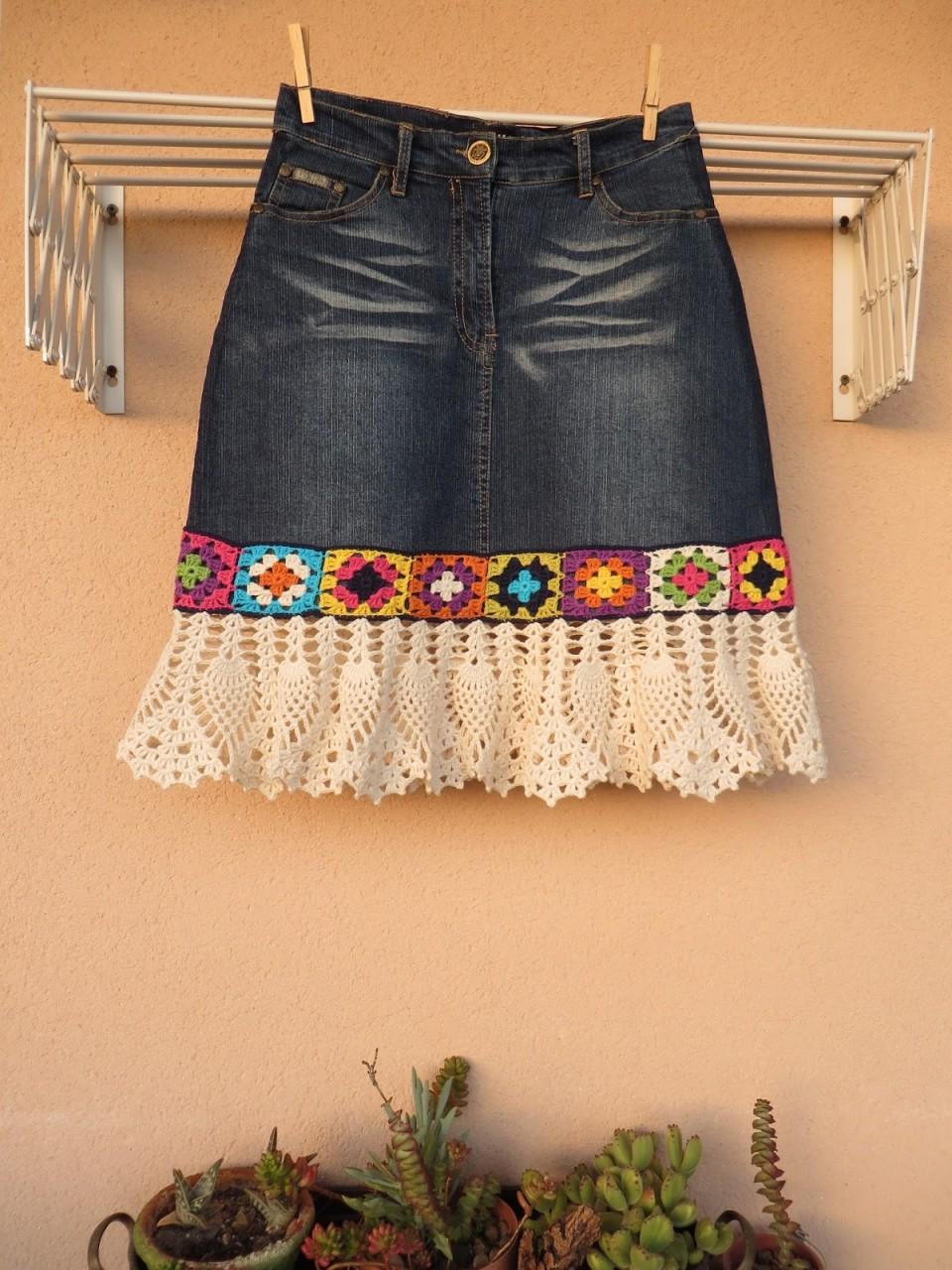 Джинсовая юбка с вязаной отделкой. Схемы