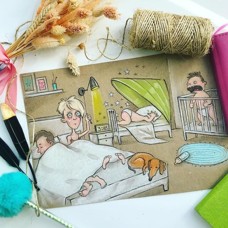 Мама двоих детей нарисовала свои будни. На ее иллюстрациях все родители узнают себя