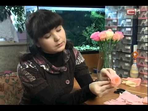 роза для букета из конфет  мастер класс