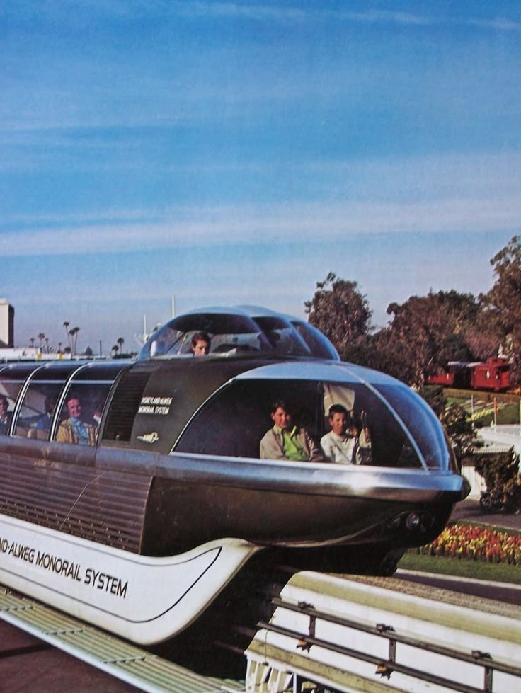 Монорельсовая дорога в Диснейленде, 1969-1987 вагоны, железнодорожные, изобретения, поезда, рельсы, факты, фантазии