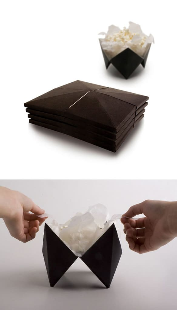 Popcorn Packaging That Pops-Up Into A Little Bowl When Popcorn Is Ready