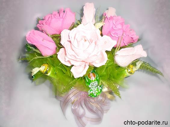 Букеты цветов из конфет бумаги своими руками фото