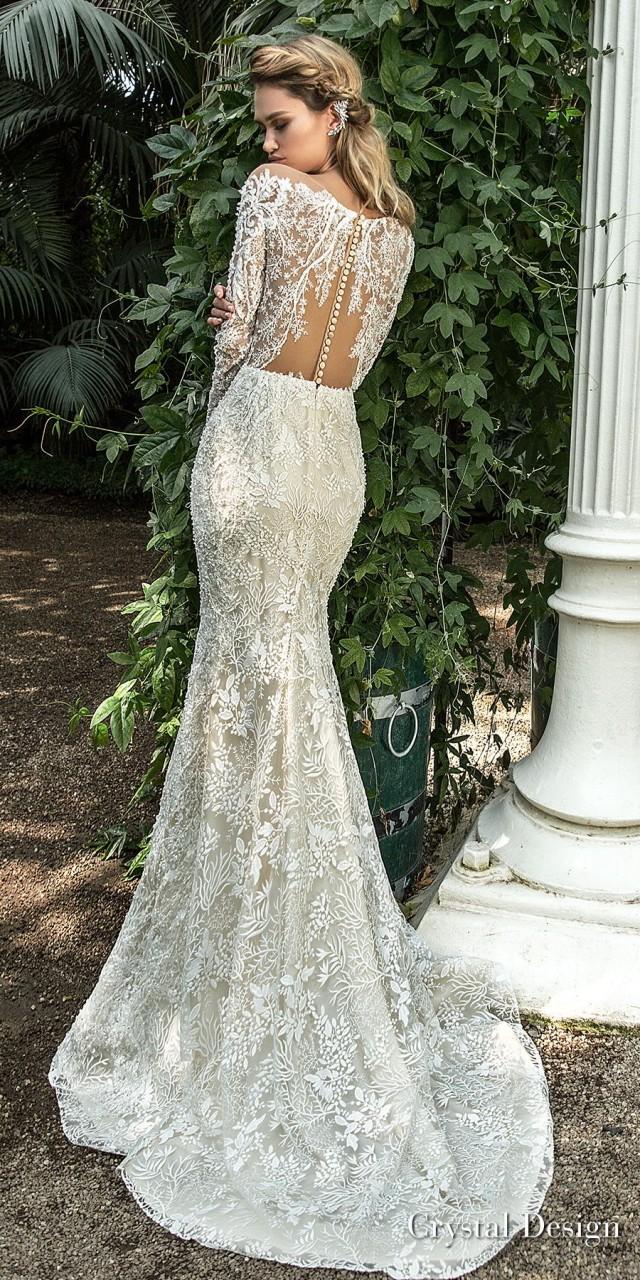 crystal design 2018 long sleeves deep sweetheart neckline full embellishment elegant fit and flare wedding dress sheer button back sweep train (steysi) bv