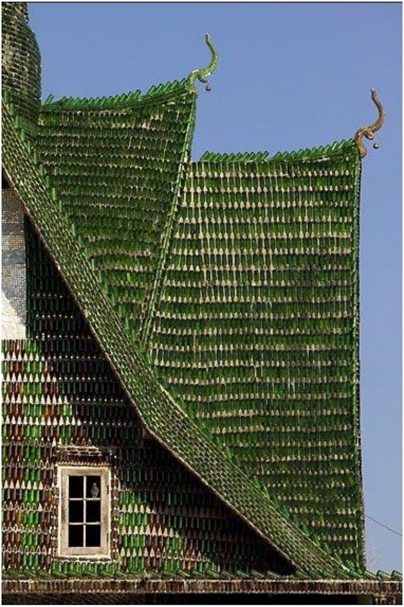 Стеклянные бутылки Материалы, Фабрика идей, интересное, красиво, крыши, необычное, стройка