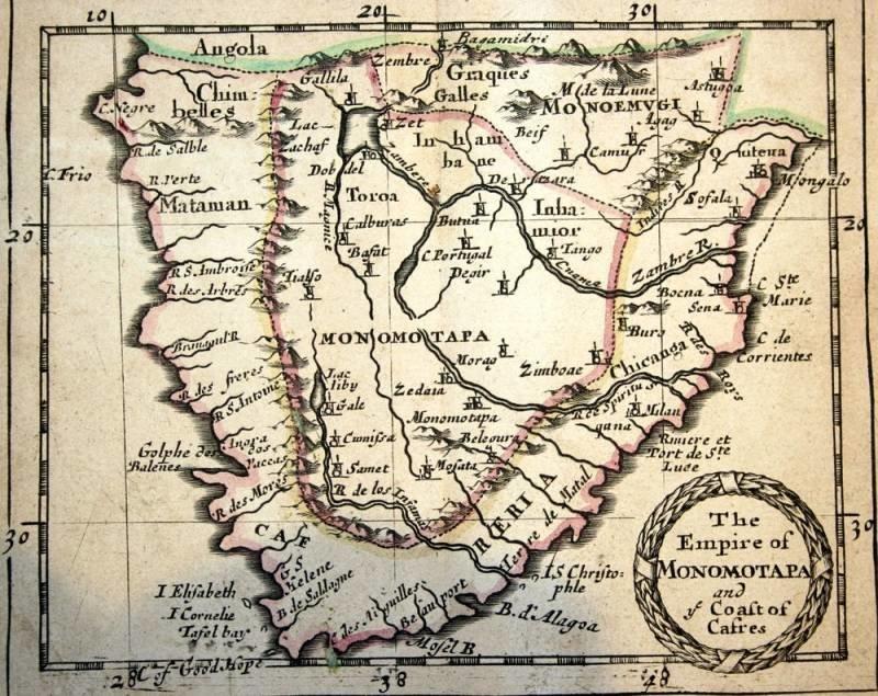 Мономотапа на Португальской карте XVI века Африка., древние цивилизации, история