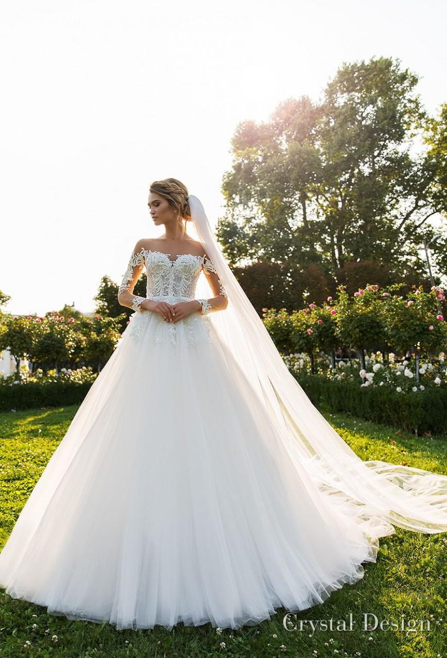 crystal design 2018 long sleeves sweetheart neckline heavily embellished bodice princess a line wedding dress chapel train (octavia) mv
