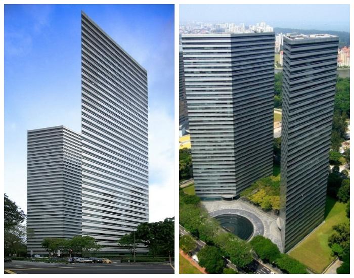 Ультрасовременный комплекс Gateway, который состоит из двух 37-этажных тонких небоскребов (Сингапур).