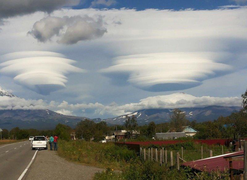 Лентикулярные облака Камчатки природа, природные явления, удивительная природа