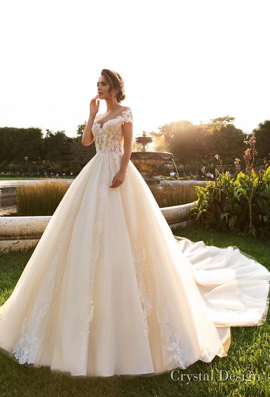 crystal design 2018 short sleeves sweetheart neckline heavily embellished bodice princess ivory ball gown wedding dress v back royal train (kaitleen) mv