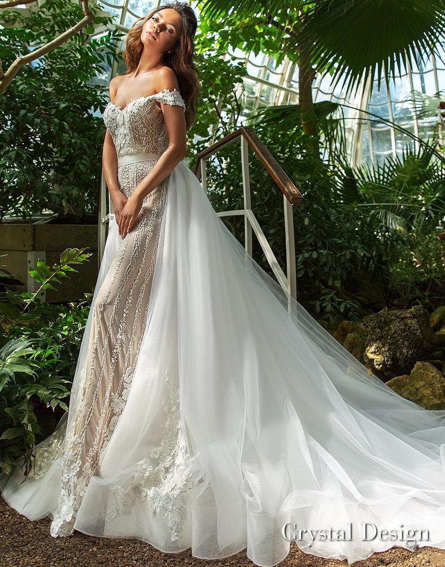 crystal design 2018 off the shoulder sweetheart neckline full embellishment elegant romantic fit and flare wedding dress a line overskirt chapel train (claudia) mv