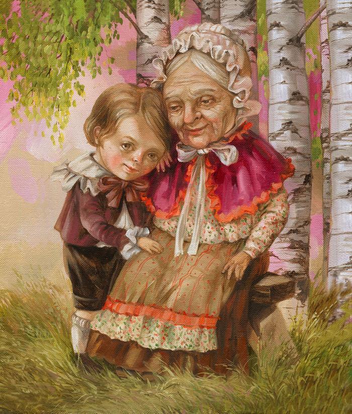 Прикольные картинки про бабушку с внуками