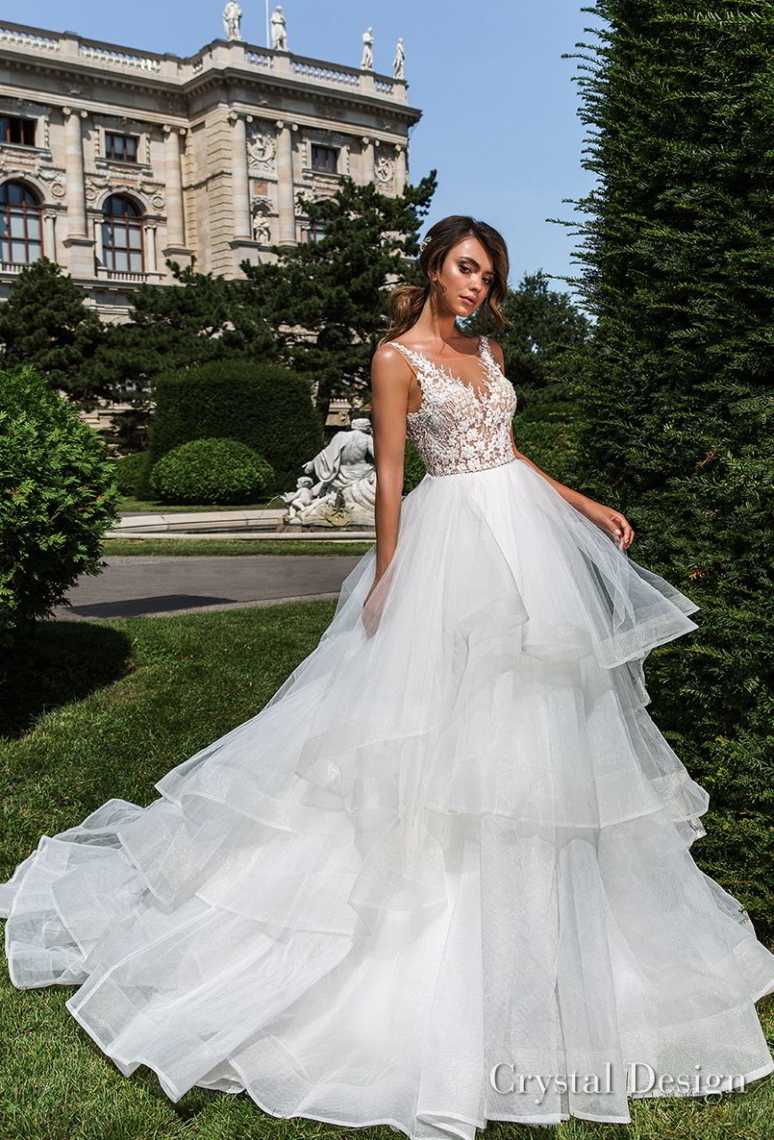 crystal design 2018 sleeveless v neck heavily embellished bodice tiered skirt romantic a line wedding dress open v back chapel train (kornelia) mv