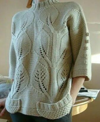 Узор спицами для шикарного пуловера 1