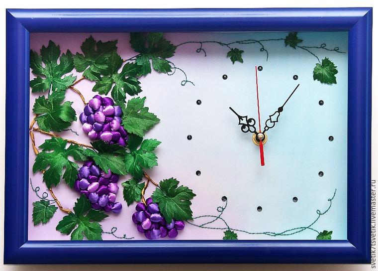 Как оформить часы с объемной вышивкой в багет под стекло