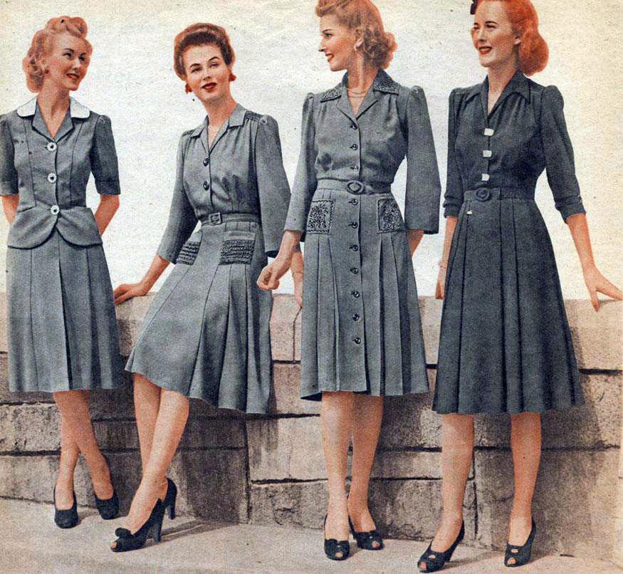 Мода и стиль времен Второй мировой войны.