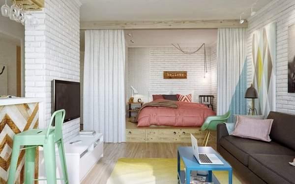 как расставить мебель в комнате однокомнатной квартиры, фото 24